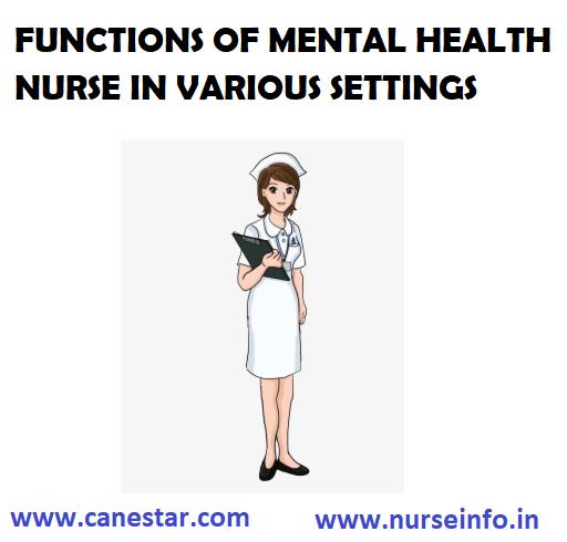 FUNCTIONS OF MENTAL HEALTH NURSE IN VARIOUS SETTINGS