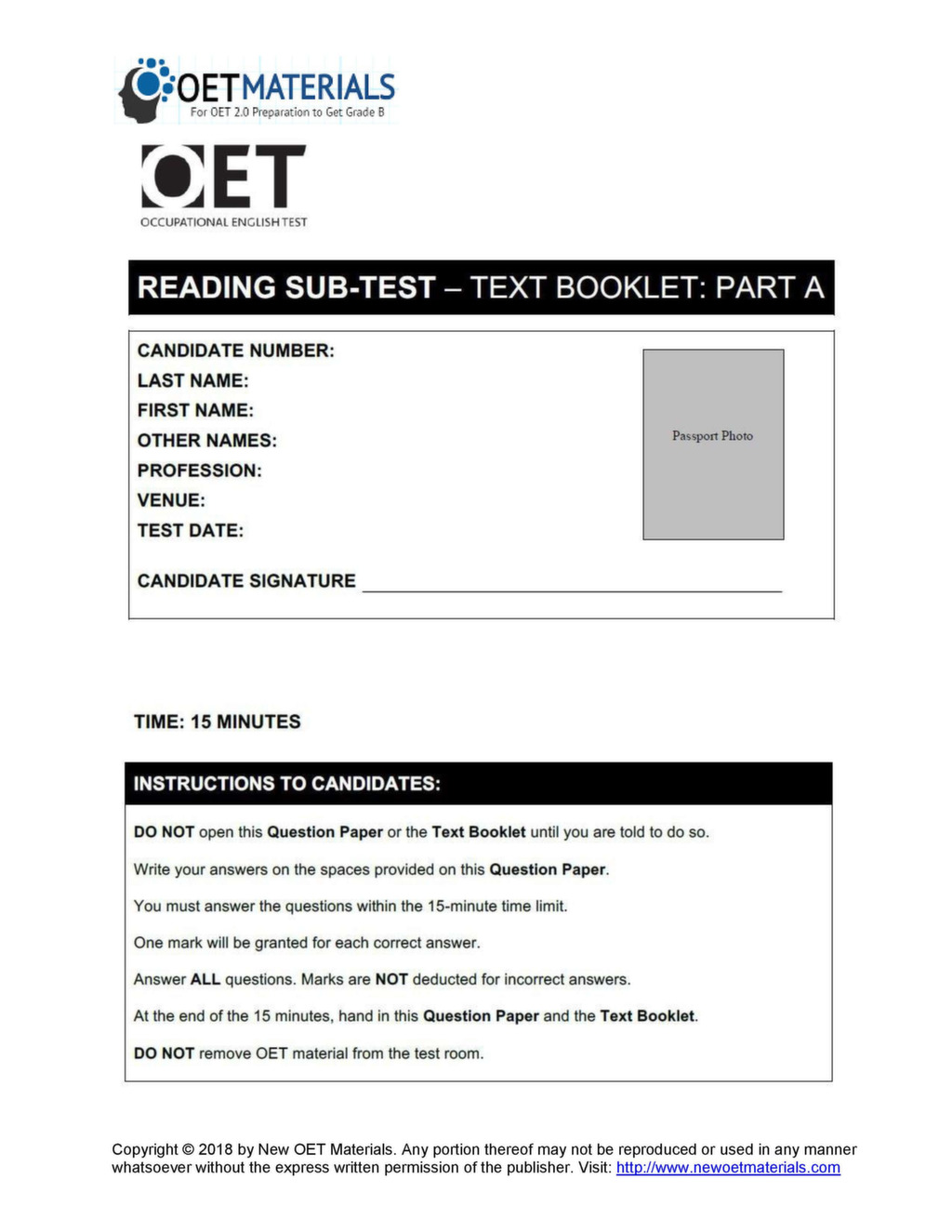 Z-SERIES, OET READING TEST, PART - 5 | nurseinfo